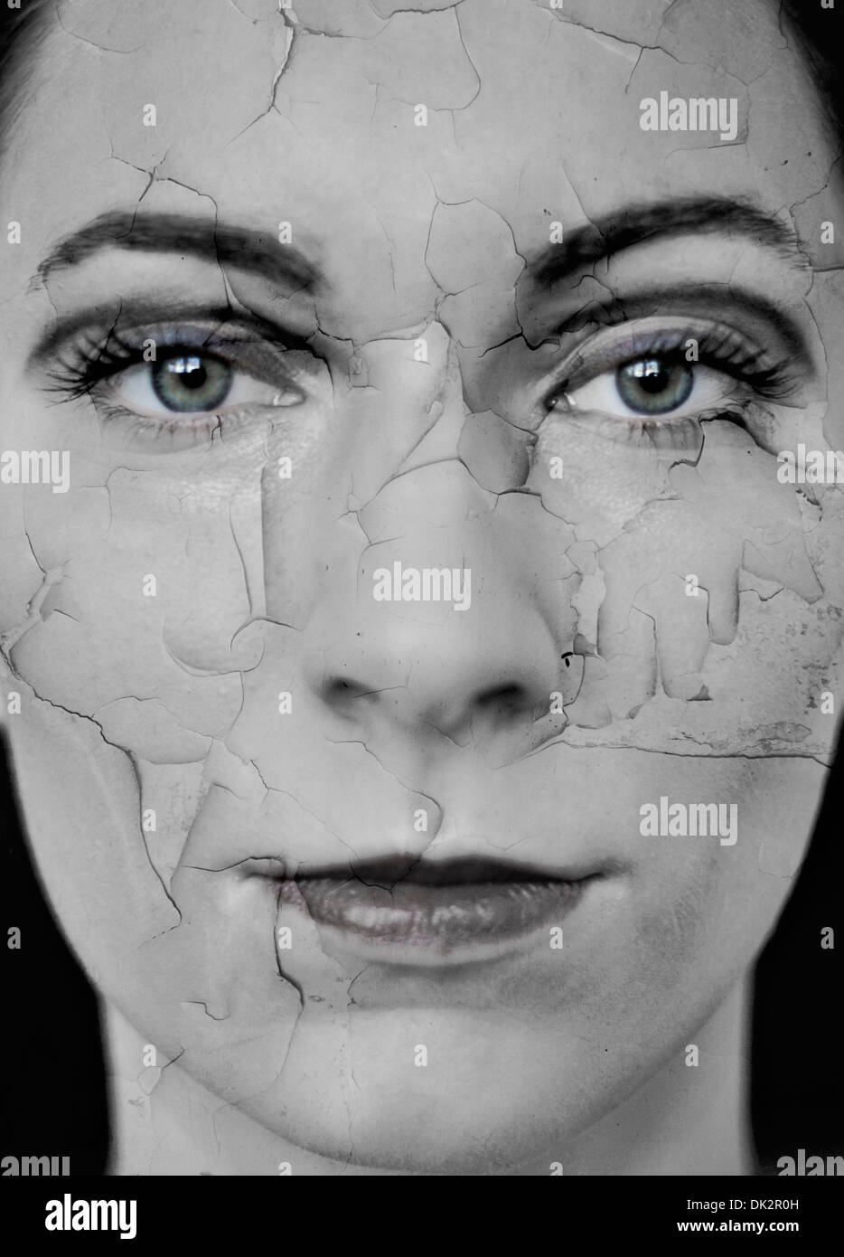 Woman with dry cracked skin, digital composite - Stock Image