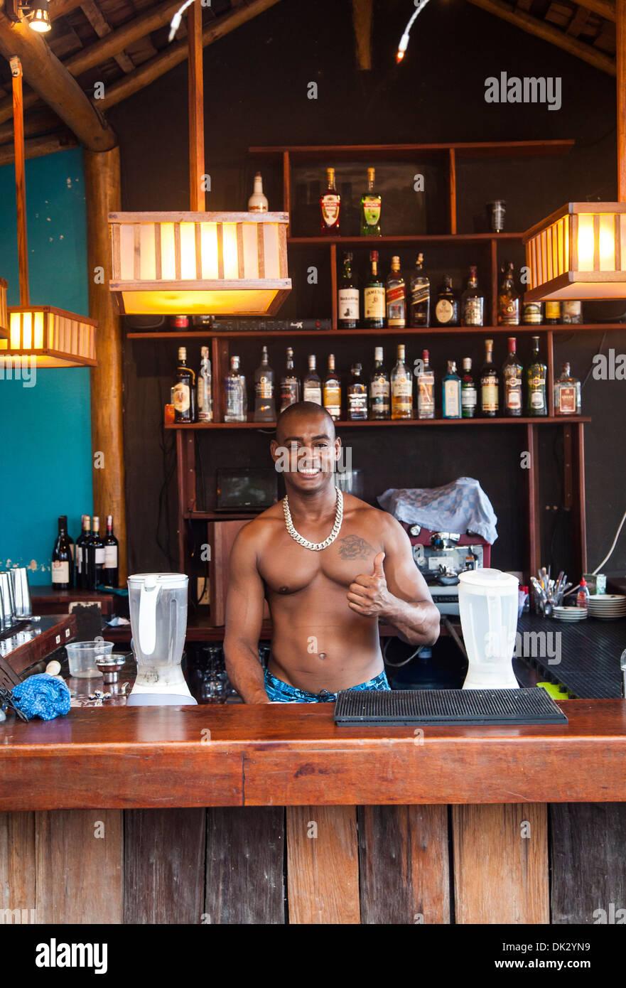 Barman at Castanha restaurant, Cumbuco, Fortaleza district, Brazil. - Stock Image