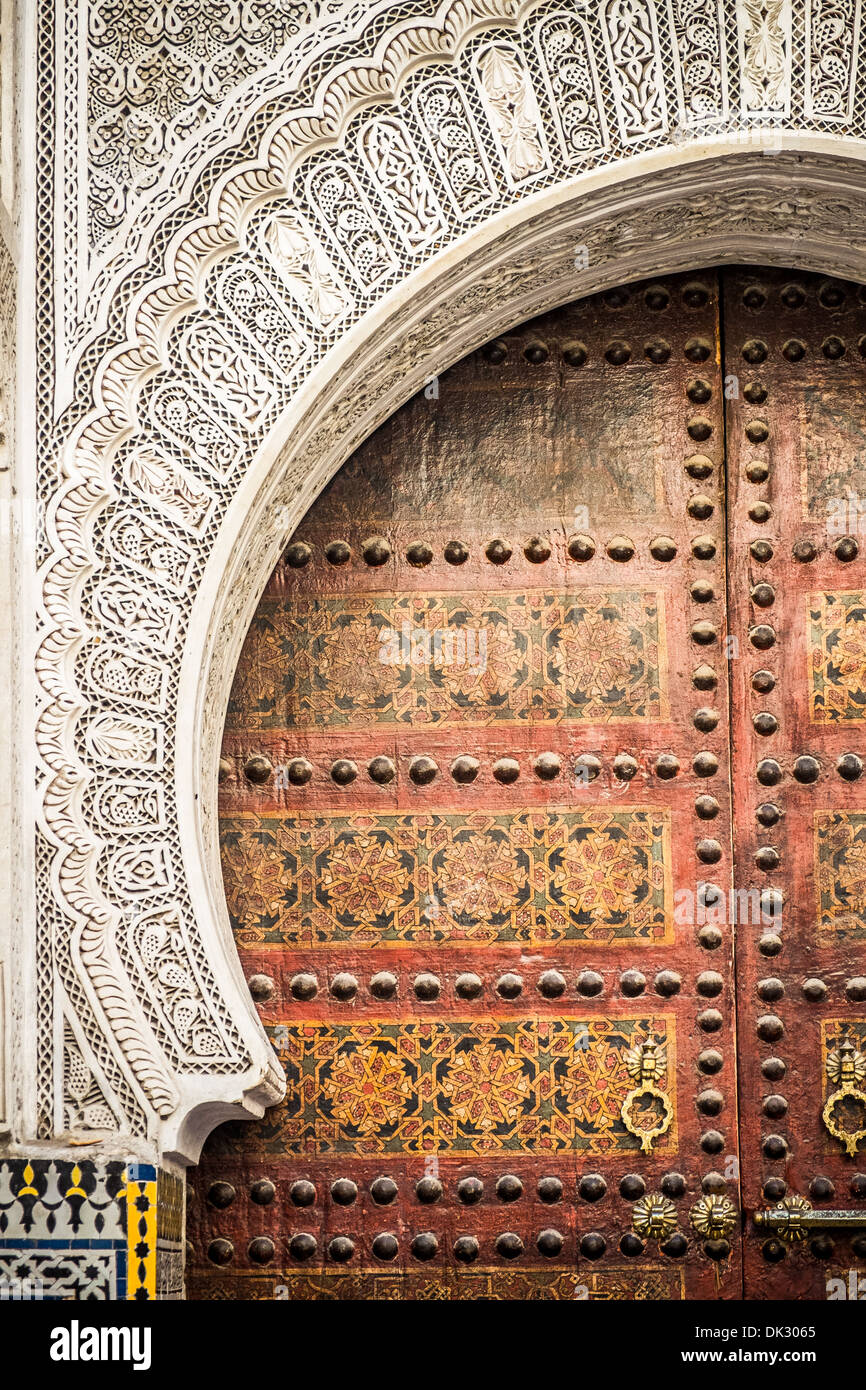 Typical architecture of moroccan door in Marrakech - Stock Image