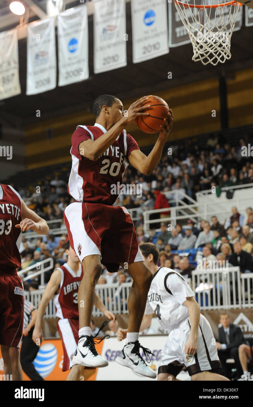 Feb. 20, 2011 - Bethlehem, Pennsylvania, U.S - Lafayette College F Darion Benbow (20) grabs a rebound against Lehigh during Sunday's Patriot League match-up at Stabler Arena in Bethlehem, PA. Lehigh defeats Lafayette by a final score of 67 - 66. (Credit Image: © Brian Freed/Southcreek Global/ZUMAPRESS.com) - Stock Image