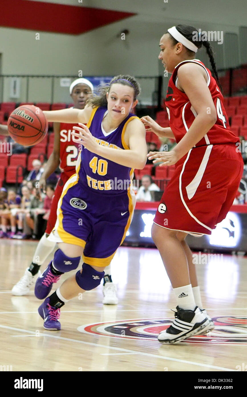 Feb. 22, 2011 - Edwardsville, Illinois, U.S - Tennessee Tech guard/forward Molly Heady (40) drives past SIUE forward Allyssa Decker (42) during a game between Southern Illinois University Edwardsville (SIUE) and Tennessee Tech  at the Sam M. Vadalabene Center in Edwardsville, Illinois. Tennessee Tech defeated SIUE 68-52. (Credit Image: © Scott Kane/Southcreek Global/ZUMAPRESS.com) - Stock Image