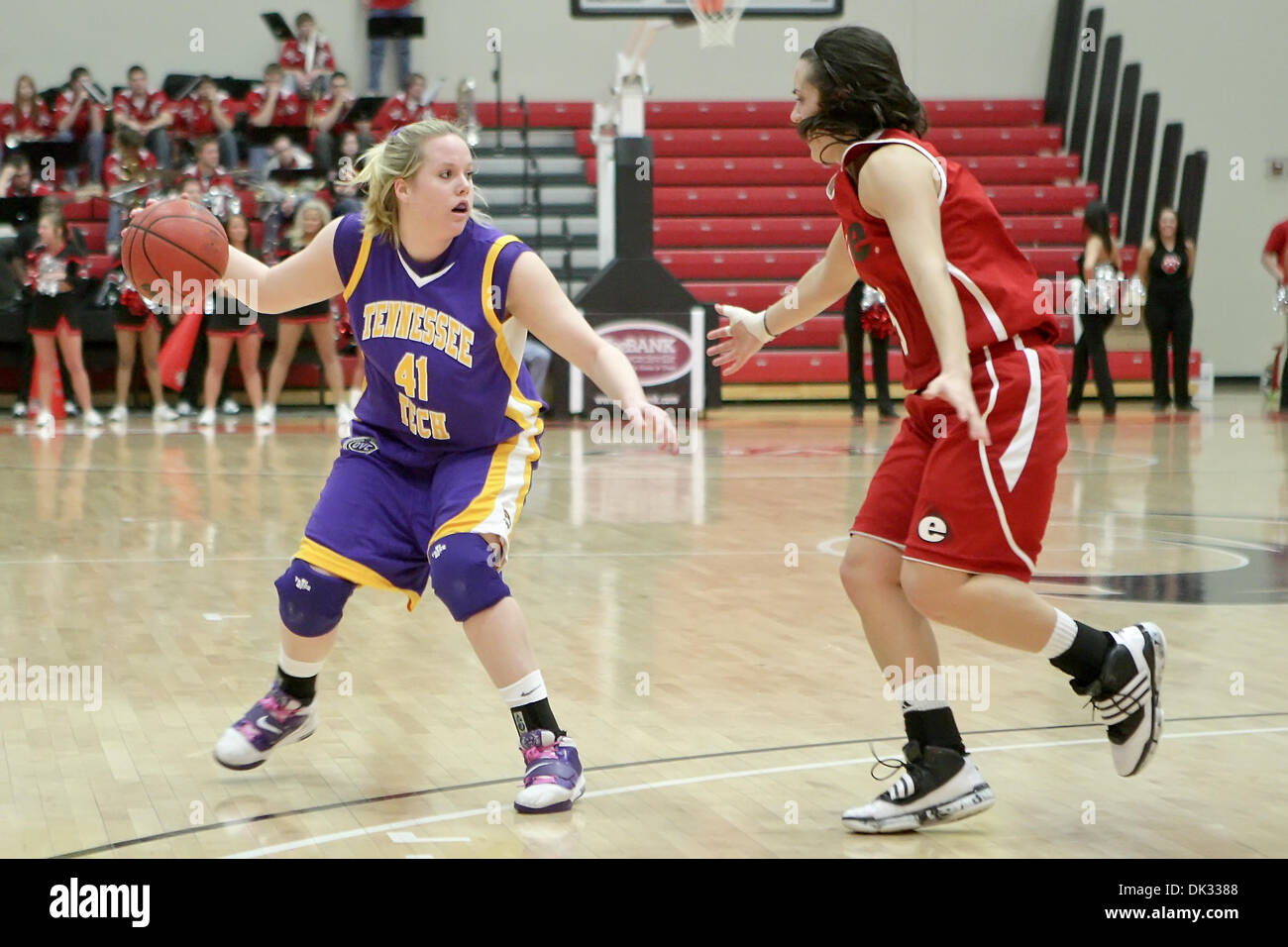 Feb. 22, 2011 - Edwardsville, Illinois, U.S - Tennessee Tech guard/forward Molly Heady (40) and SIUE guard Sydney Stahlberg (5) in action during a game between Southern Illinois University Edwardsville (SIUE) and Tennessee Tech  at the Sam M. Vadalabene Center in Edwardsville, Illinois. Tennessee Tech defeated SIUE 68-52. (Credit Image: © Scott Kane/Southcreek Global/ZUMAPRESS.com) - Stock Image