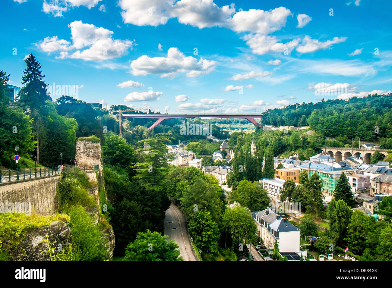 Panoramic view of luxembourg city with a cloudy sky - Stock Image
