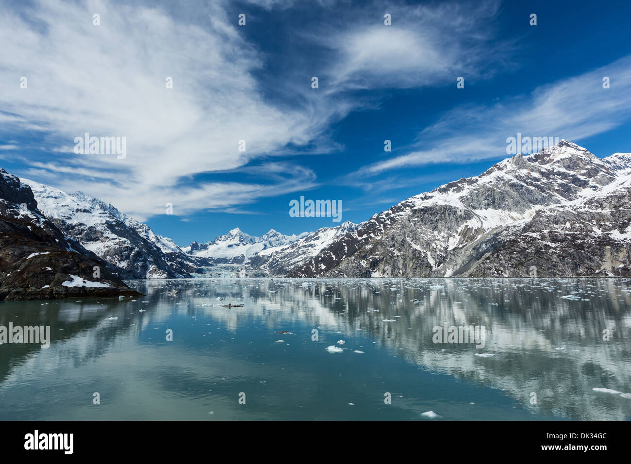 Panoramic view of the Johns Hopkins Inlet in Glacier Bay National Park Stock Photo