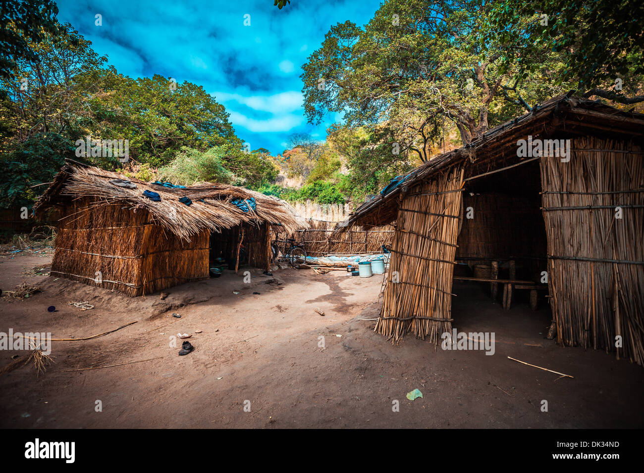 Humble village on the Malawi lake - Stock Image