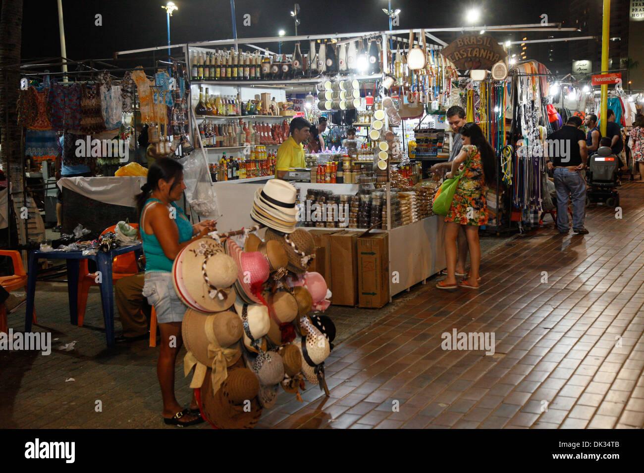 Feirinha Beira Mar handicrafts fair, Fortaleza, Brazil. Stock Photo