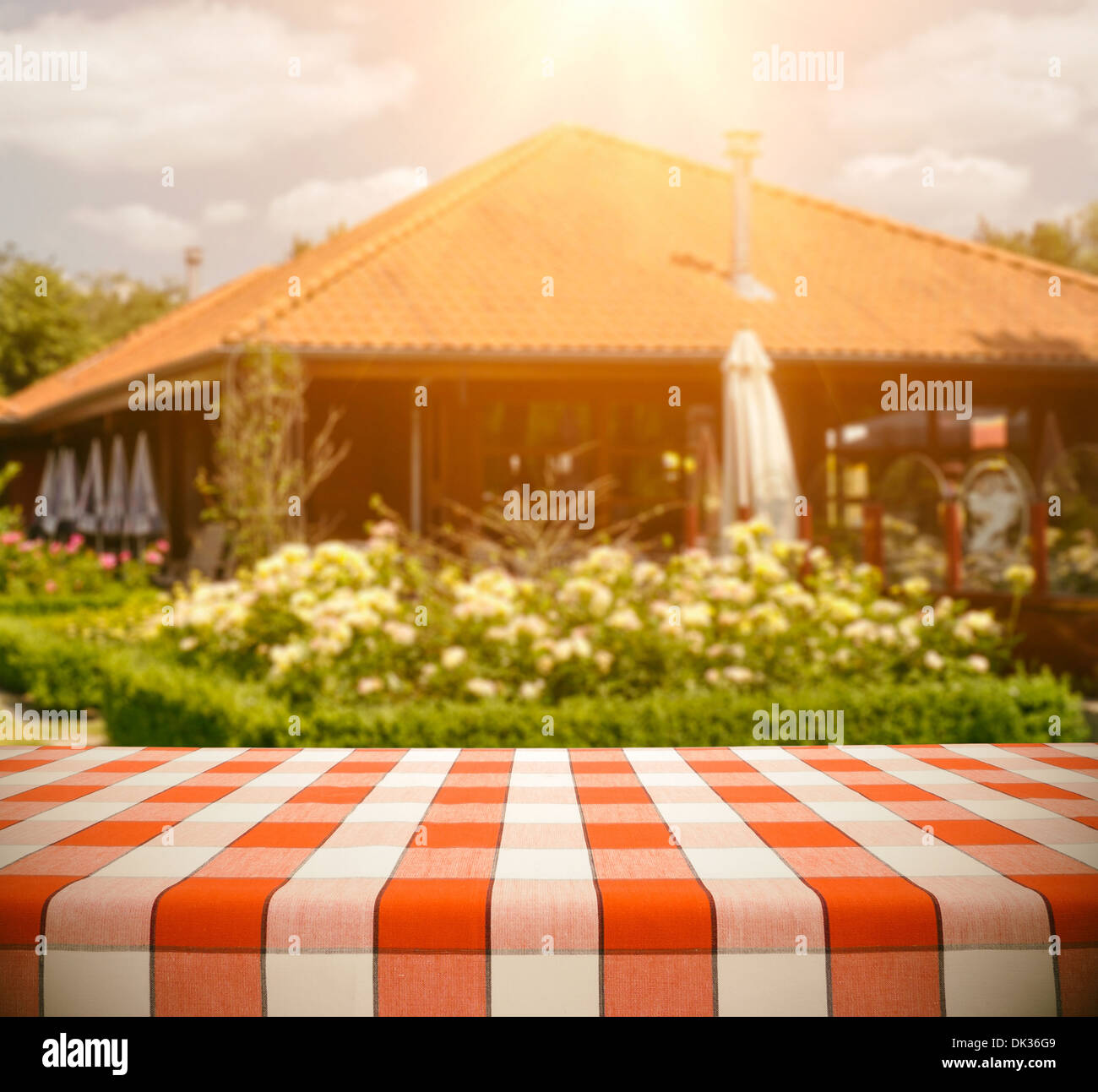 Tablecloth on Restaurant - Stock Image