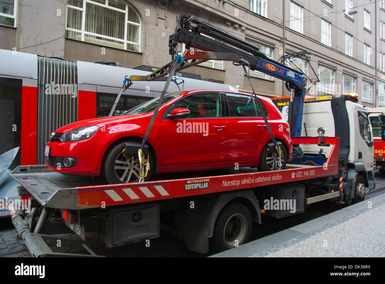 Car being taken away because of a parking violation Prague Czech Republic Europe - Stock Image