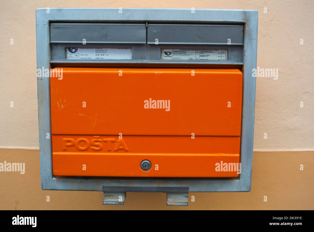 Postal letter box Prague Czech Republic Europe - Stock Image