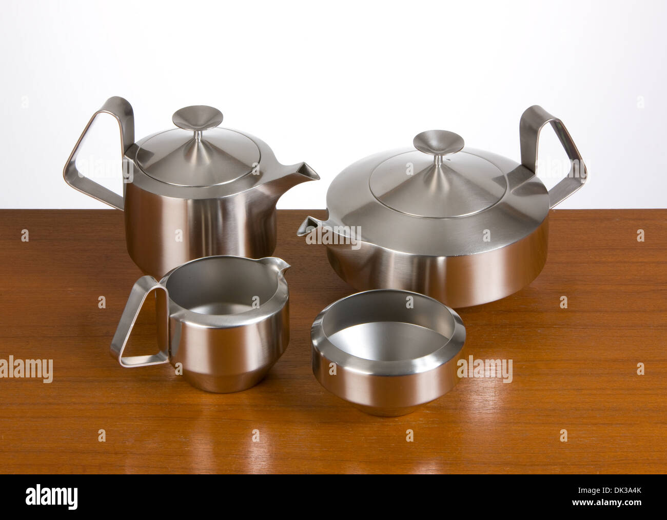 Vintage English Stainless Steel Alveston teaset designed for Old Hall by Robert Welch - Stock Image
