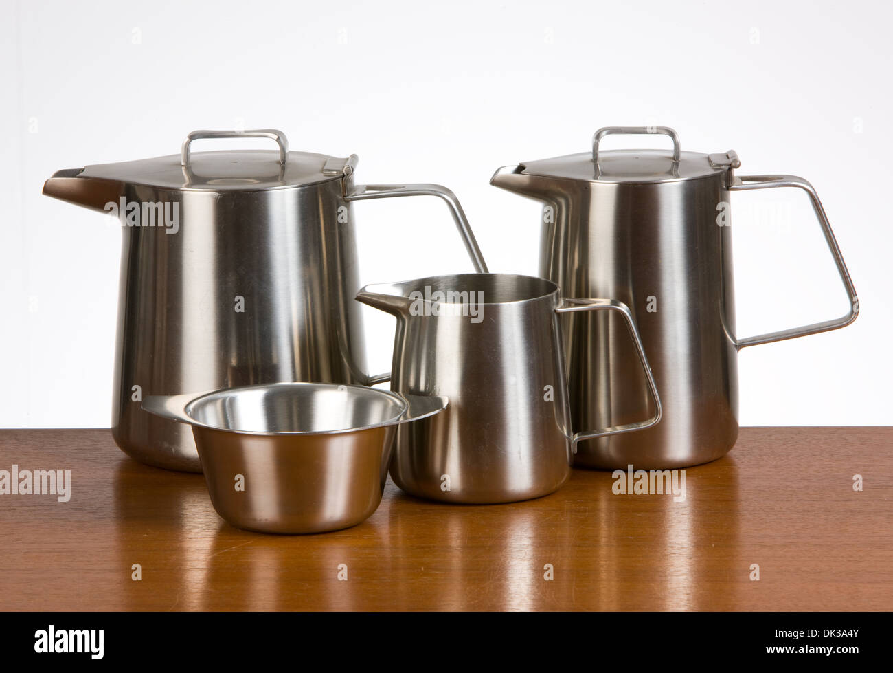 Vintage English Stainless Steel teaset designed for Old Hall by Robert Welch - Stock Image