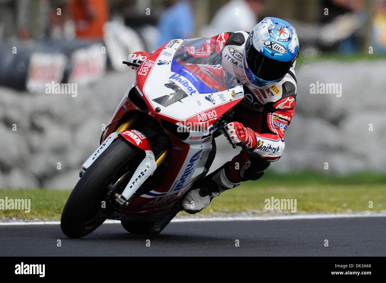 Feb. 26, 2011 - Phillip Island, Victoria, Australia - Carlos Checa (ESP) riding the Ducati 1098R (7) of the Althea Stock Photo