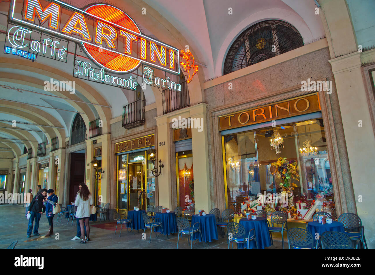 Caffe Torino grand cafe exterior Piazza San Carlo square central Turin city Piedmont region northern Italy Europe - Stock Image
