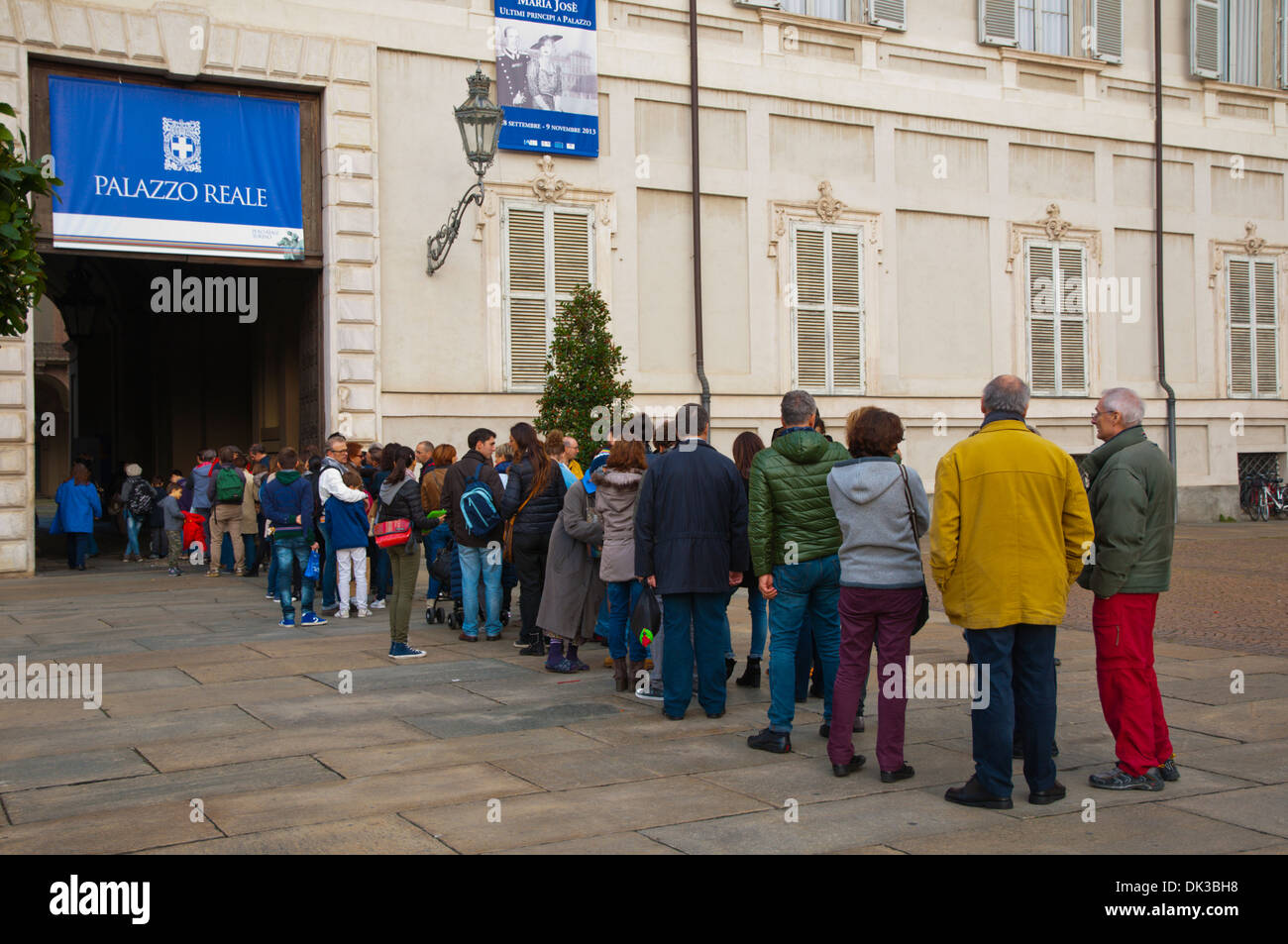 Queue to Palazzo Reale at Piazza Castello square Turin Piedmont region Italy Europe - Stock Image