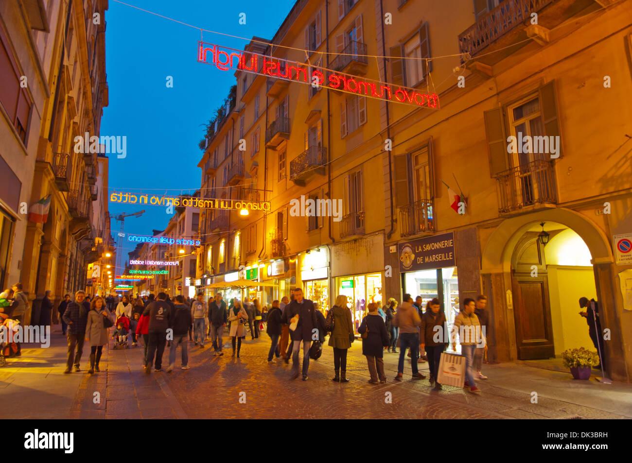 Via Lagrange pedestrian street Turin Piedmont region Italy Europe - Stock Image