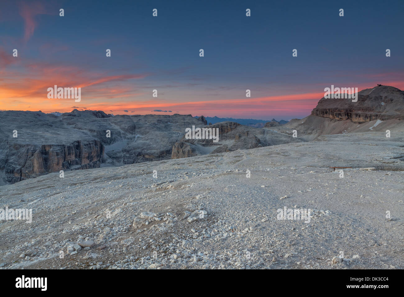 Sunset from Pordoi Sass in Dolomiti, Trentino, Italy - Stock Image