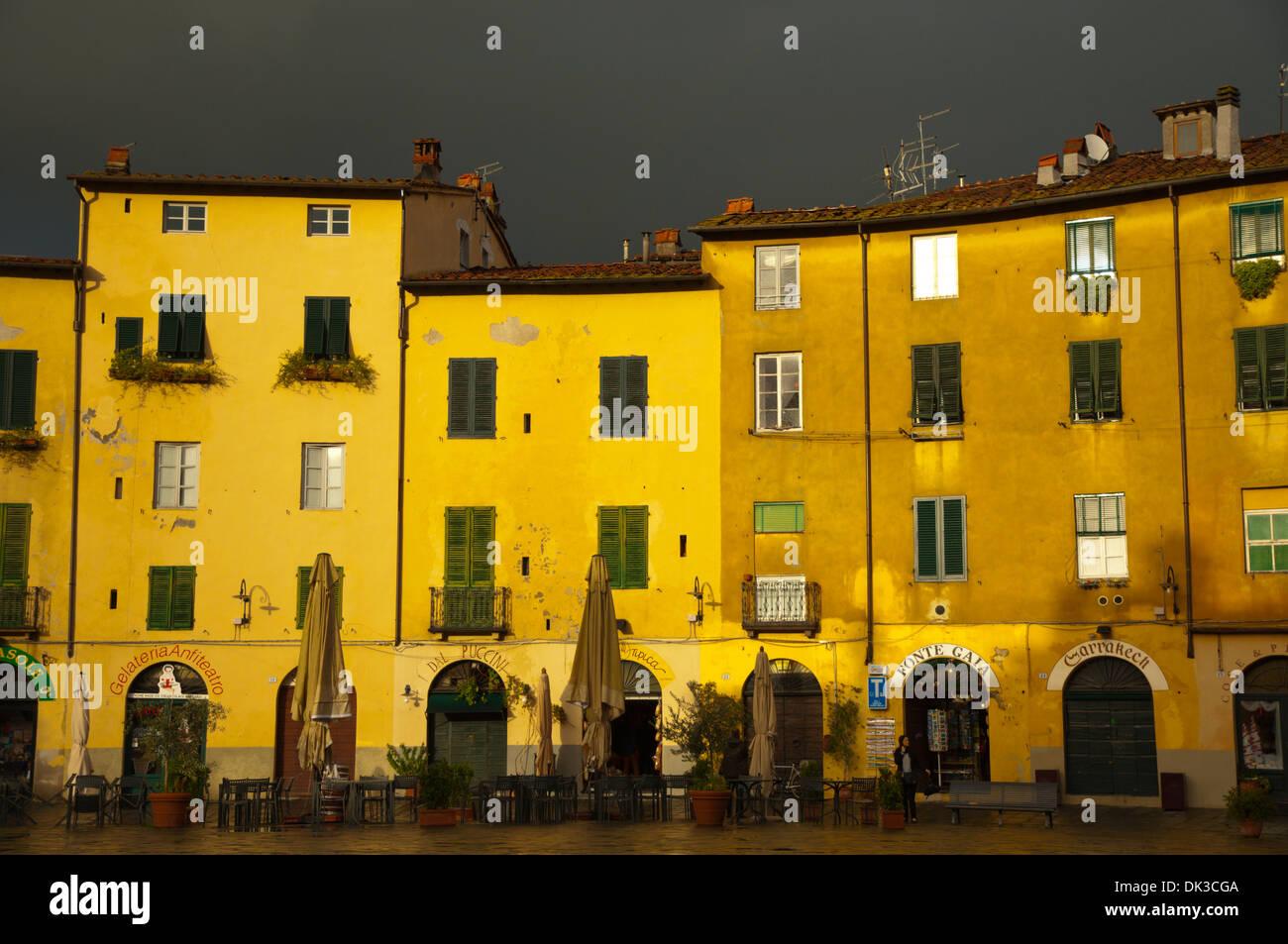 Piazza Amfiteatro square Lucca city Tuscany region Italy Europe - Stock Image