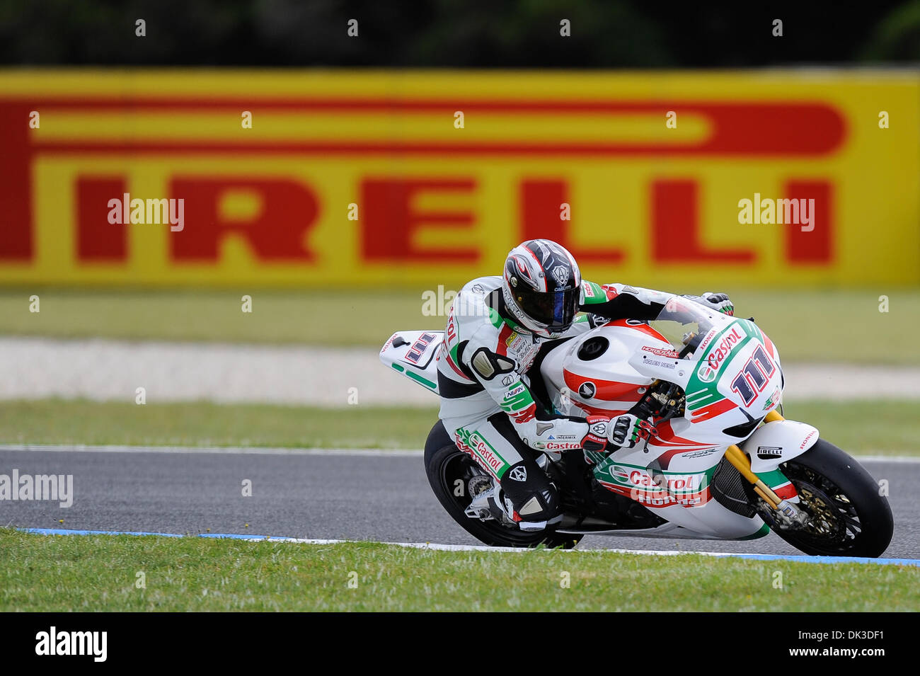 Feb. 27, 2011 - Phillip Island, Victoria, Australia - Ruben Xaus (ESP) riding the Honda CBR1000RR (111) of the Castrol Stock Photo
