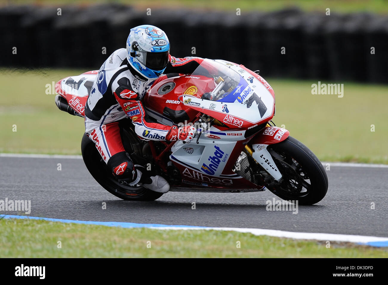 Feb. 27, 2011 - Phillip Island, Victoria, Australia - Carlos Checa (ESP) riding the Ducati 1098R (7) of the Althea Stock Photo