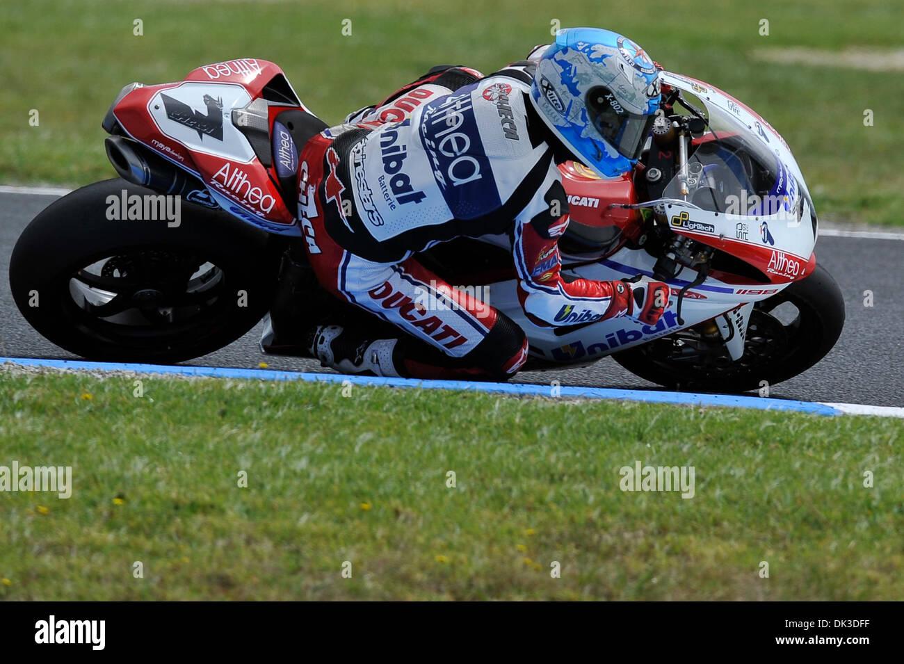 Feb. 27, 2011 - Phillip Island, Victoria, Australia - Carlos Checa (ESP) riding the Ducati 1098R (7) of the Althea Stock Photo