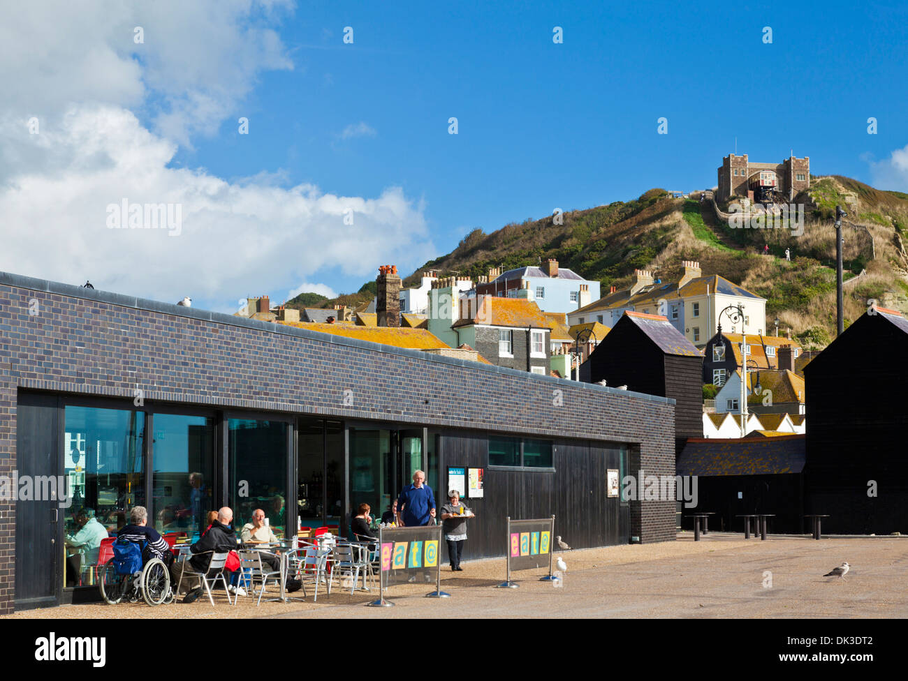 eat @ The Stade cafe Hastings seafront East Sussex England UK GB EU Europe - Stock Image