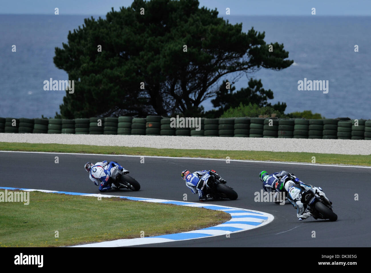 Feb. 27, 2011 - Phillip Island, Victoria, Australia - Riders cornering through Siberia turn during race one of round Stock Photo