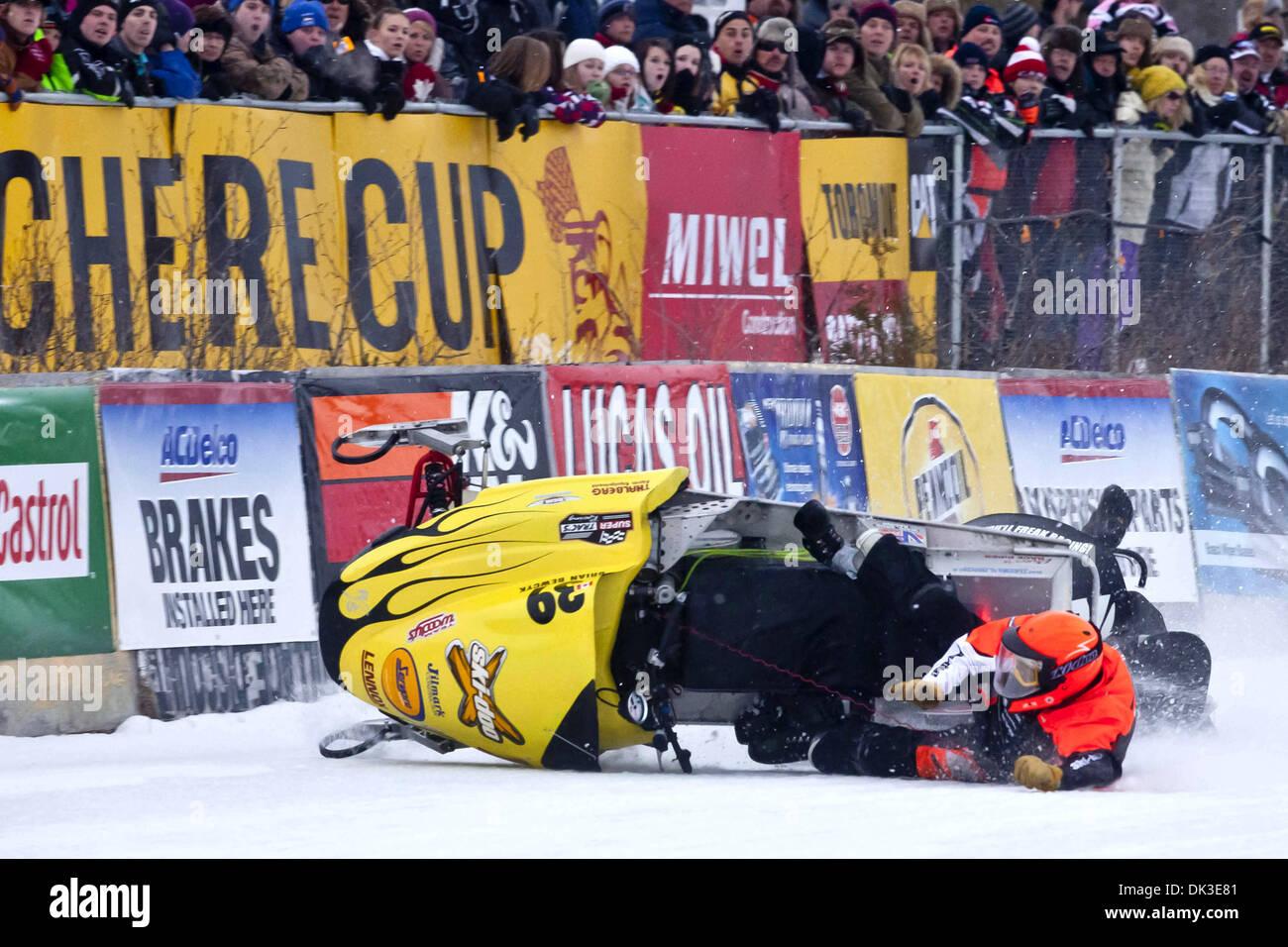 Feb. 27, 2011 - Eganville, Ontario, Canada - A crash between Brian Bewcyk(39) & Dustin Wahl(74) (Credit Image: © Leon Switzer/Southcreek Global/ZUMAPRESS.com) - Stock Image