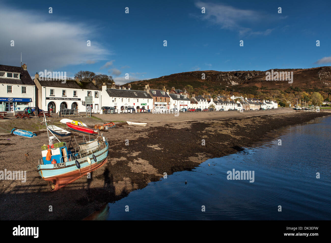 Boats and Loch Broom, Ullapool, Wester Ross, Highlands, Scotland - Stock Image