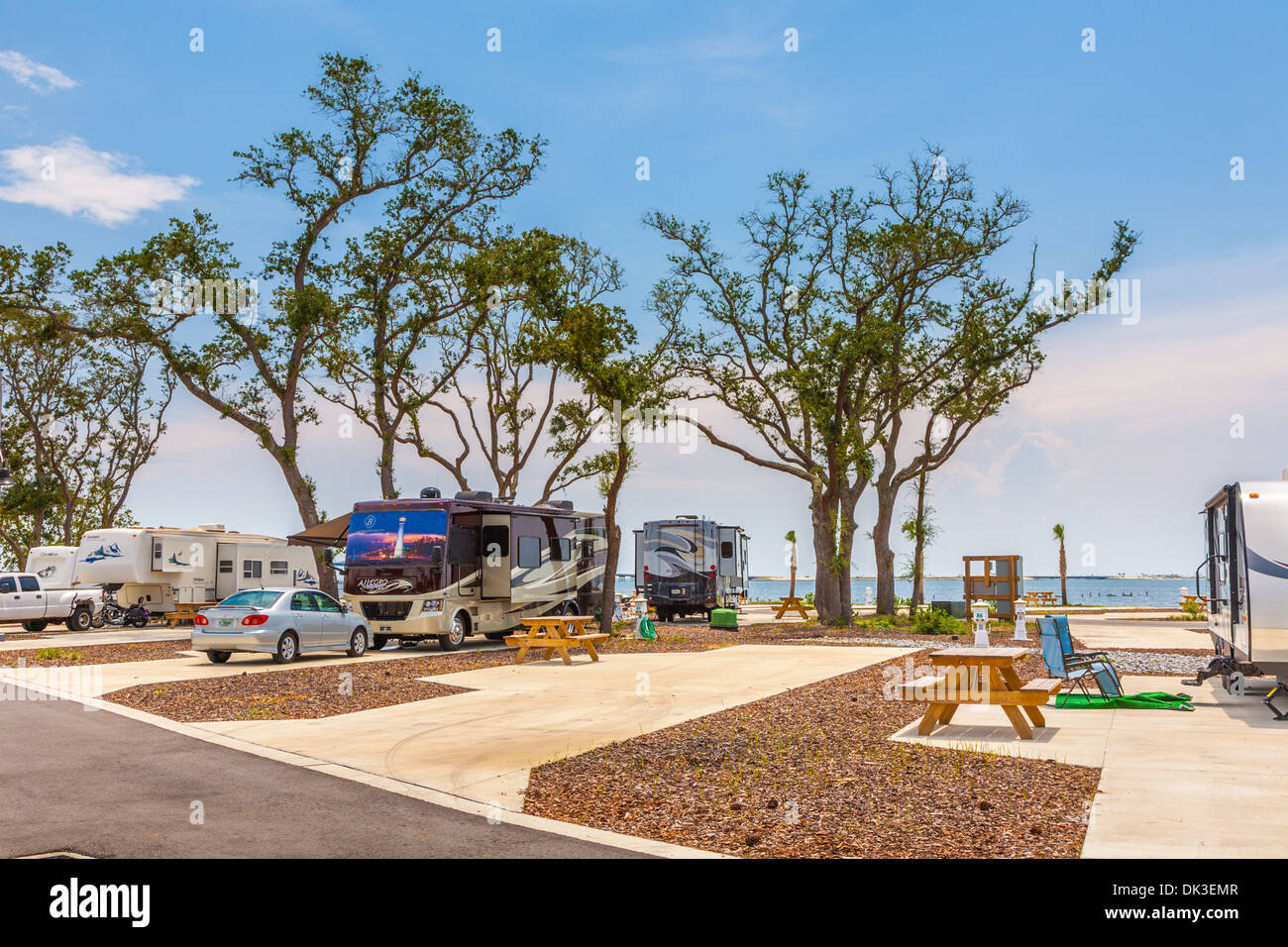 Motorhomes and travel trailers at St. Rosa RV Resort waterfront campground in Navarre, Florida - Stock Image