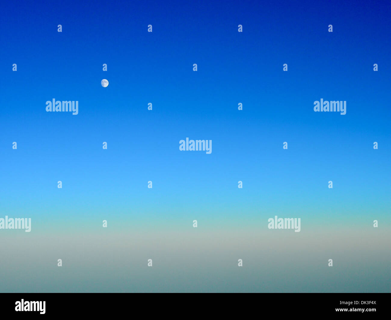 Bright blue night sky full moon Stock Photo