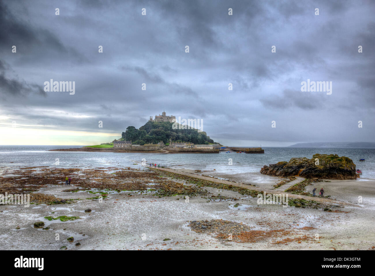 St Michaels Mount Cornwall England medieval castle and church overcast cloudy sky and mist in HDR - Stock Image