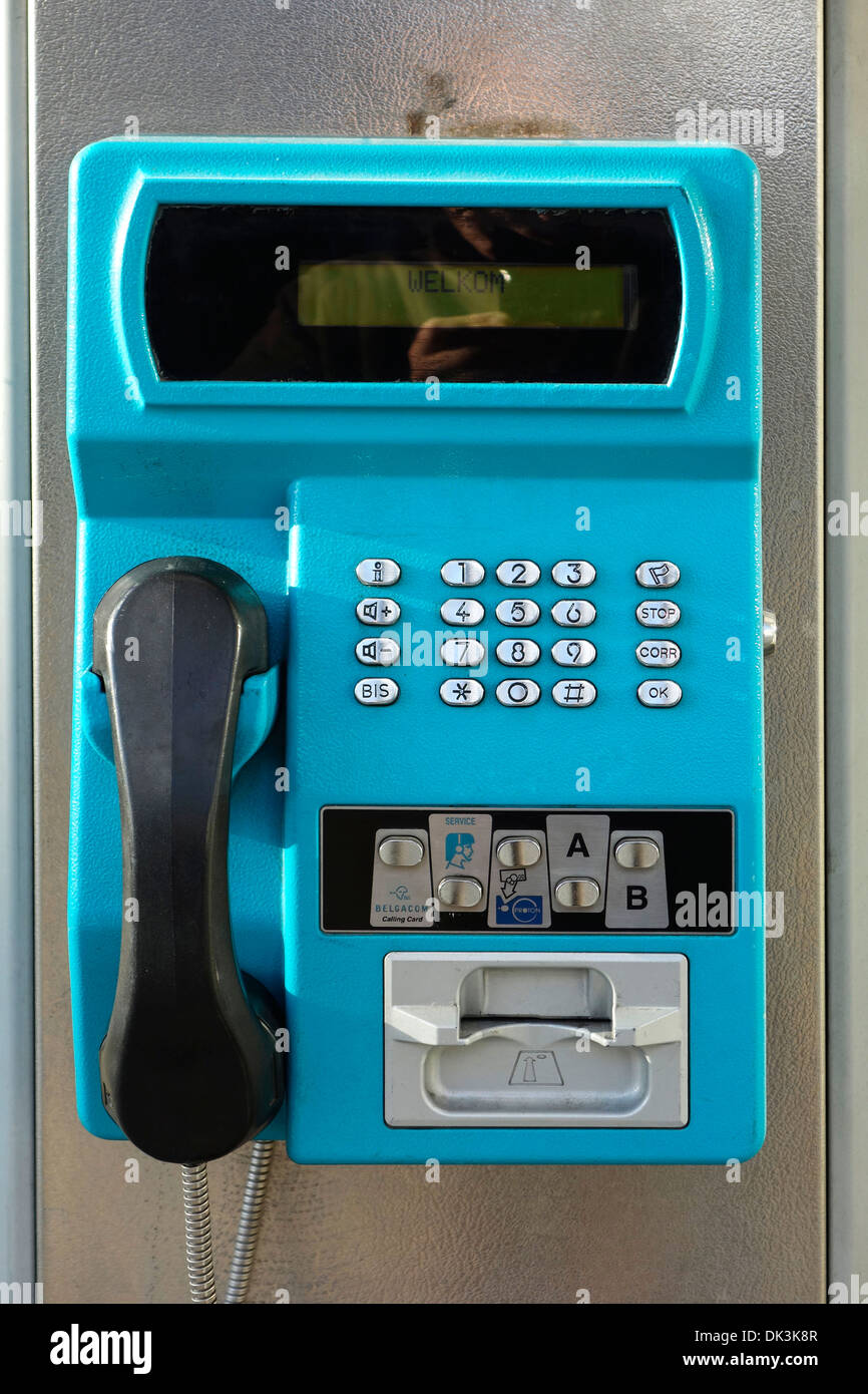Public payphone to be used with pre-payment card only in Belgian telephone booth from telecom provider Belgacom, Belgium - Stock Image