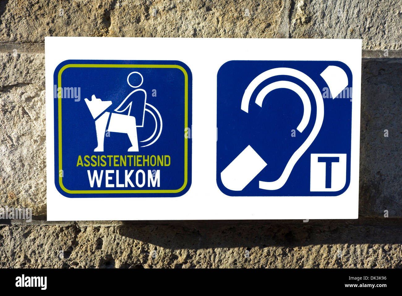 Pictograms welcoming wheelchair users with assistance dogs and hearing impaired persons to access public building - Stock Image