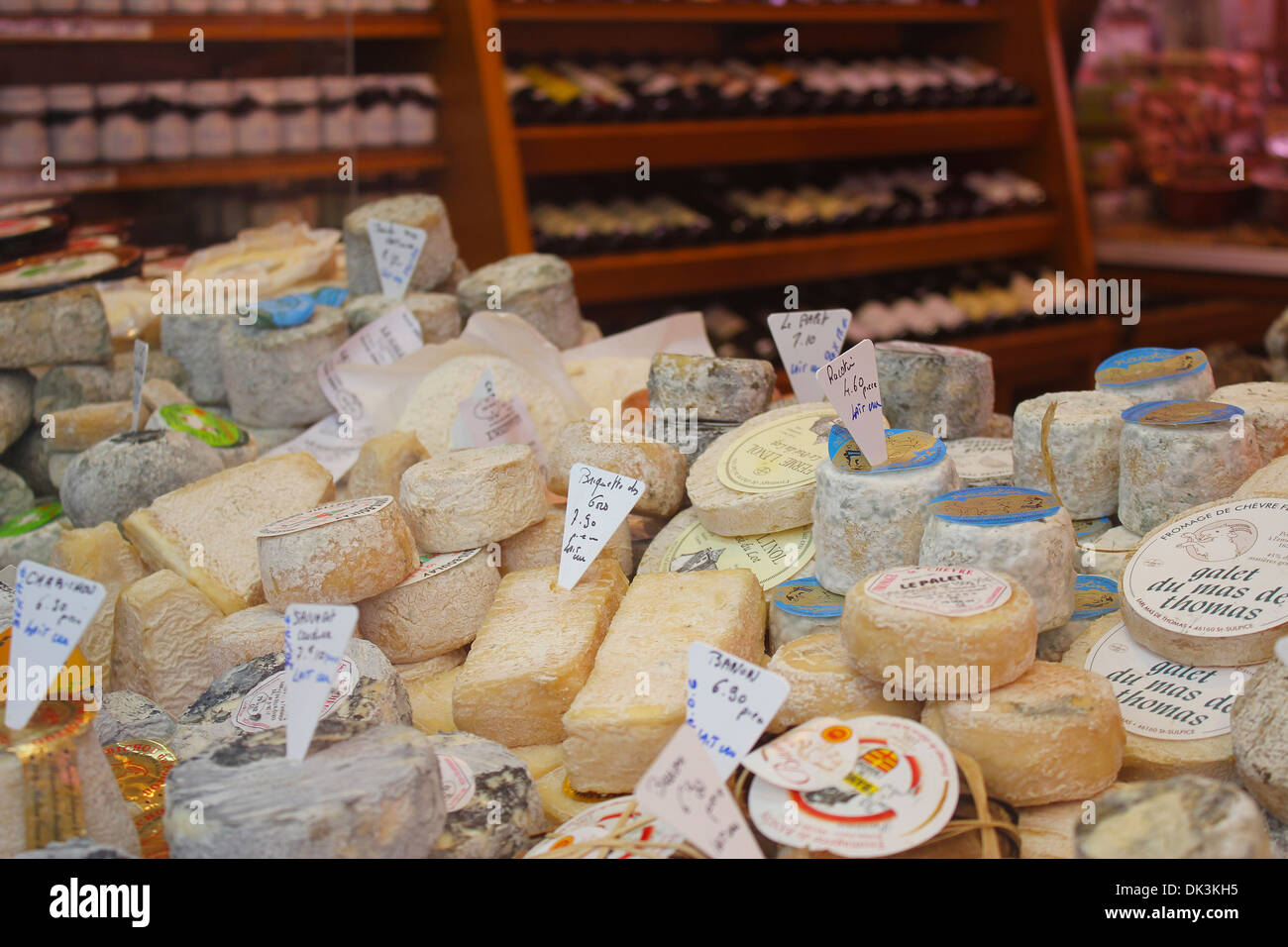 Wine and Cheese Shop - French Wine and Cheese Shop in Paris - Stock Image