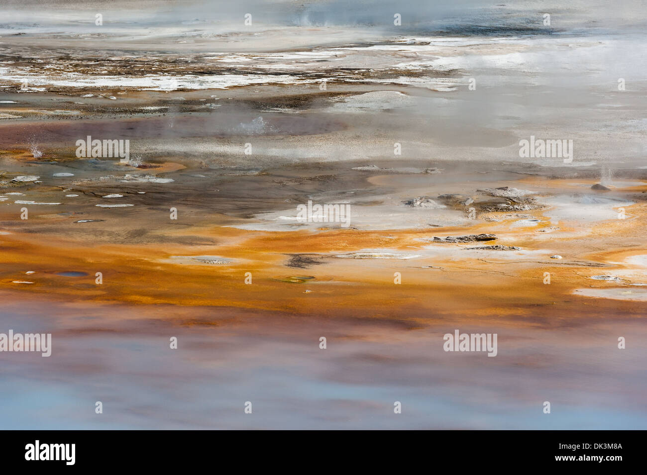 Photograph of the landscape and thermal features of the Porcelain Basin area. Yellowstone National Park, Wyoming. - Stock Image