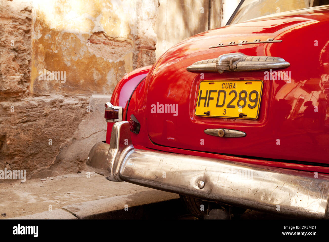 Close up of the rear of a red old American Dodge car, Havana Cuba, Caribbean - Stock Image
