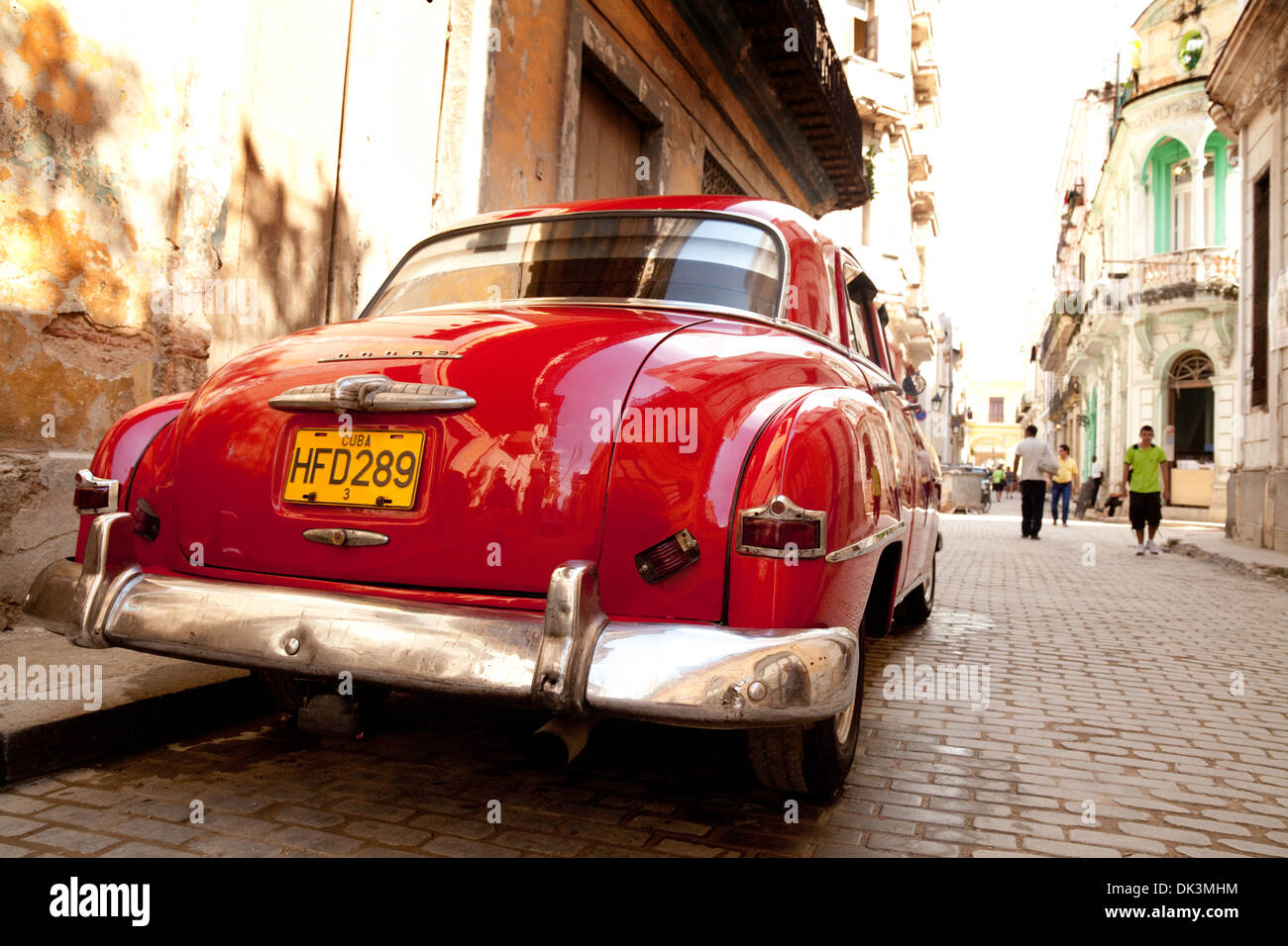 Old red Dodge american car on the street, Havana Cuba Caribbean - Stock Image