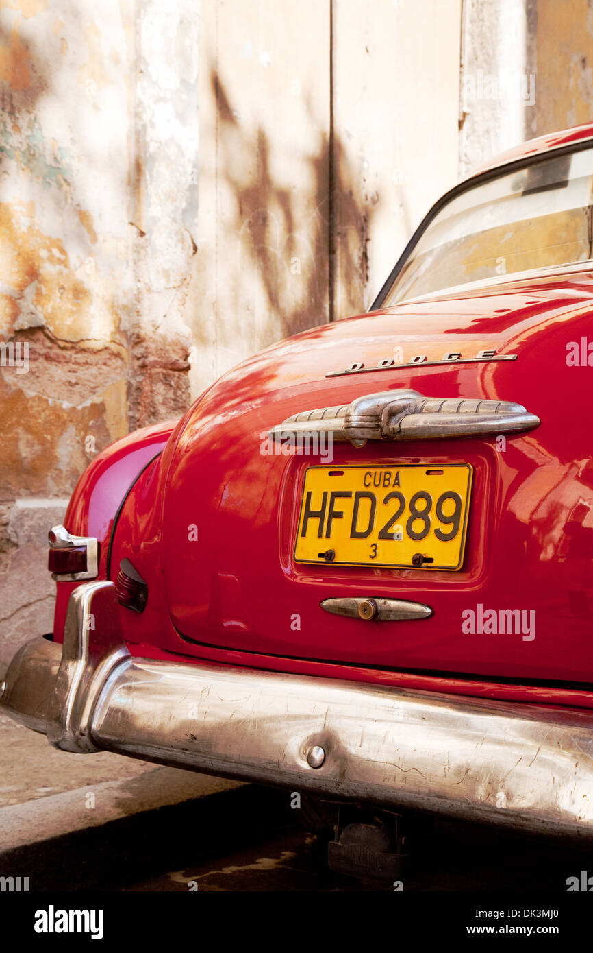 Rear of a well-kept old red Dodge - an american car on the street,  Havana Cuba Caribbean, Latin America - Stock Image