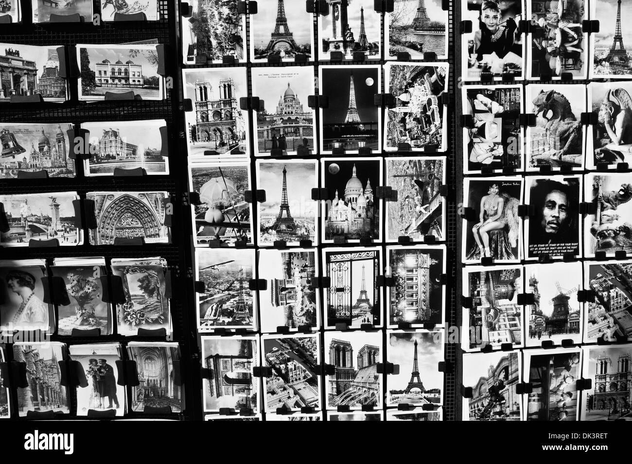 Postcards from Paris - A Postcard Display Outside of a Paris Souvenir Shop - Stock Image