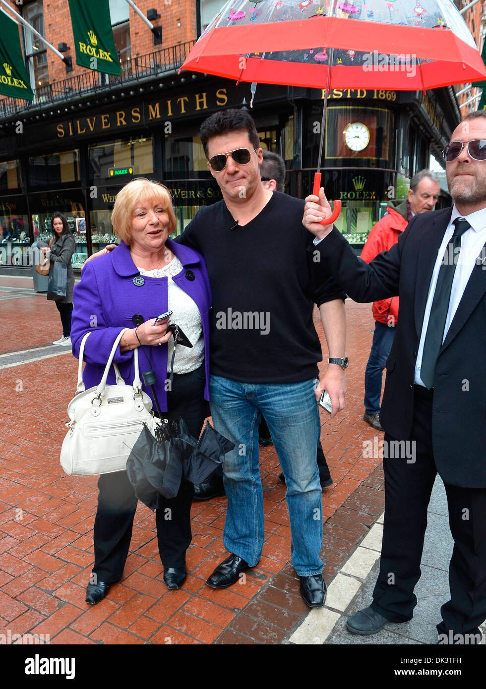 A Simon Cowell look-alike caused quite a stir on Grafton Street today while filming a skit for Craig Doyle Live Stock Photo