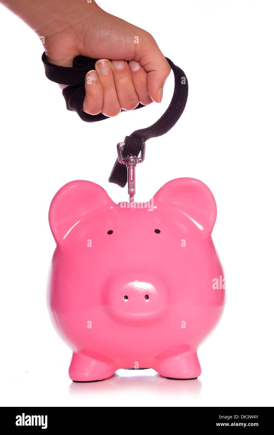 controlling your money piggy bank studio cutout - Stock Image