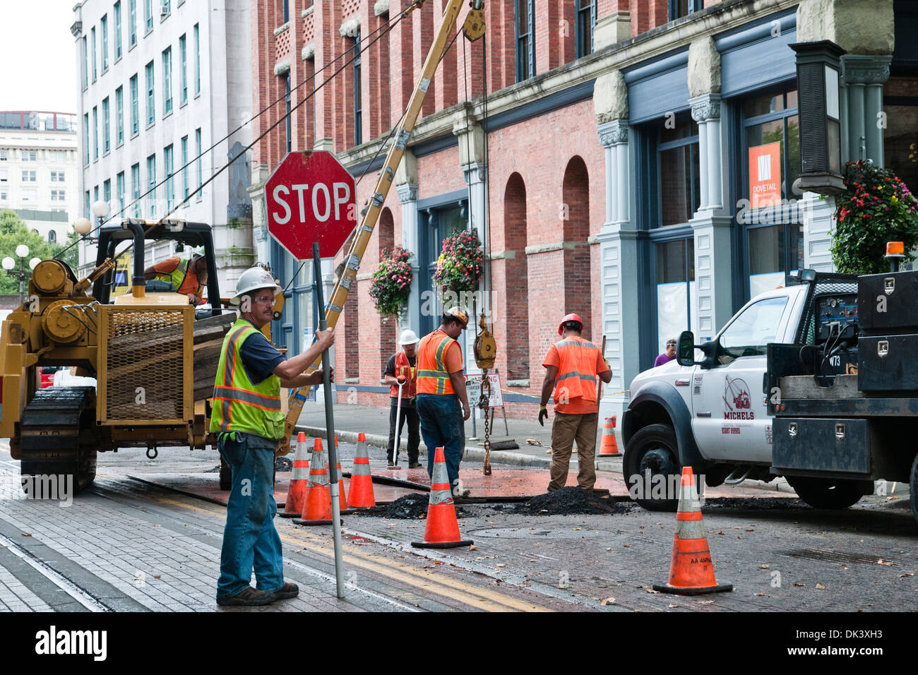 Builders are road works in the downtown, Seattle, state of Washington, USA - Stock Image