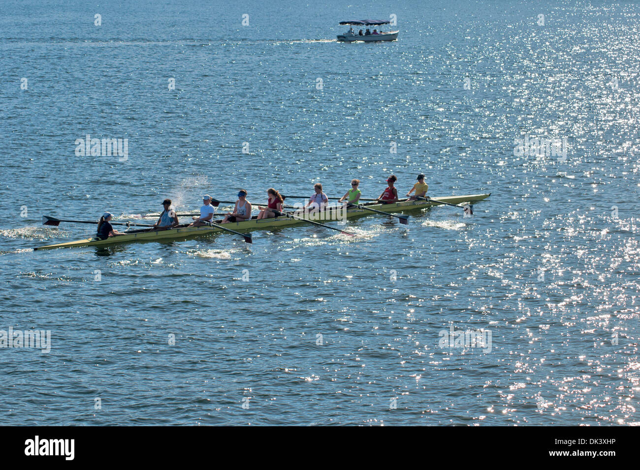 A boat participating in the competitions on rowing  Union Lake , Seattle, state of Washington, US - Stock Image