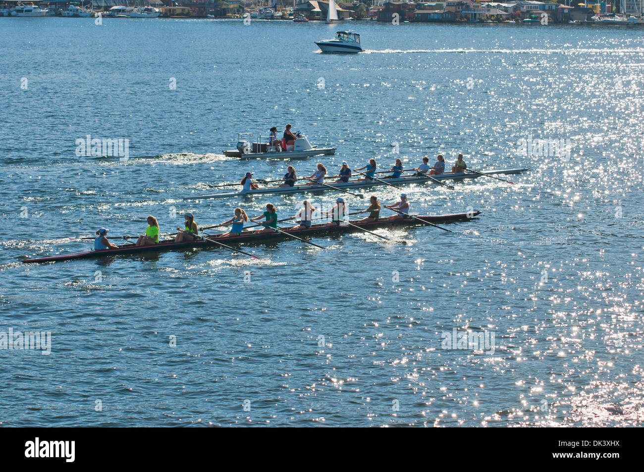 Two boats participating in the competitions on rowing  Union Lake , Seattle, state of Washington, USA - Stock Image