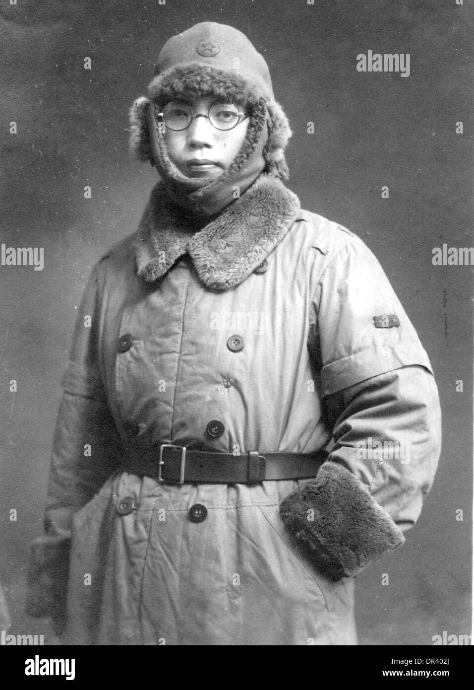 Japanese soldier serving in Manchuria wearing cold weather clothing - Stock Image