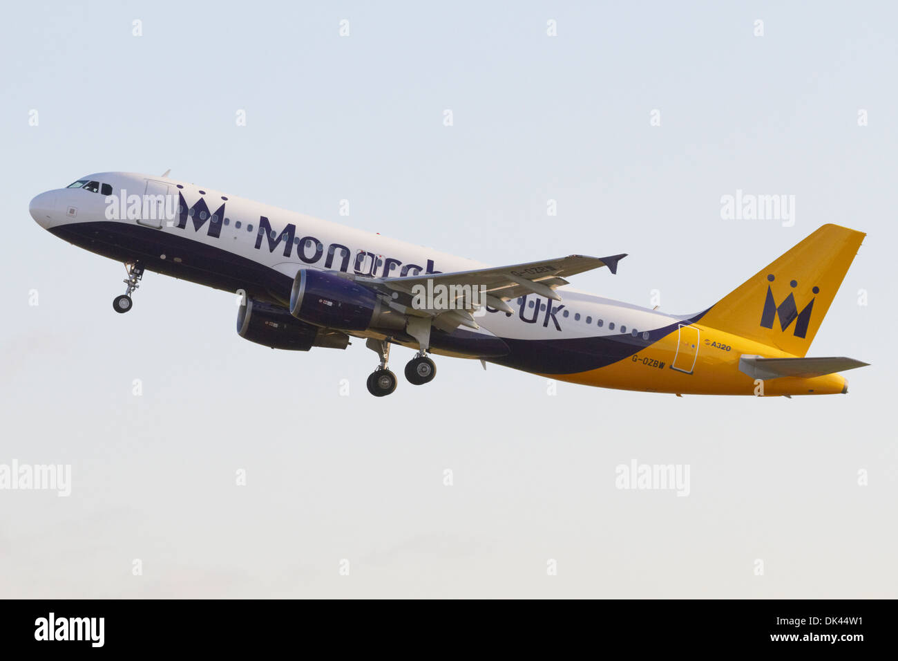 Monarch Airlines Airbus A320-200 climbing after taking off Stock Photo