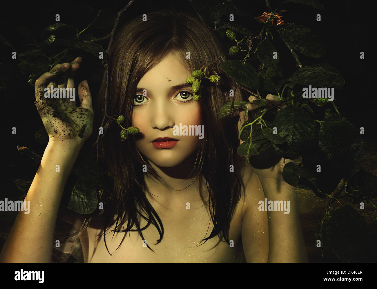 Girl in water with nature - Stock Image