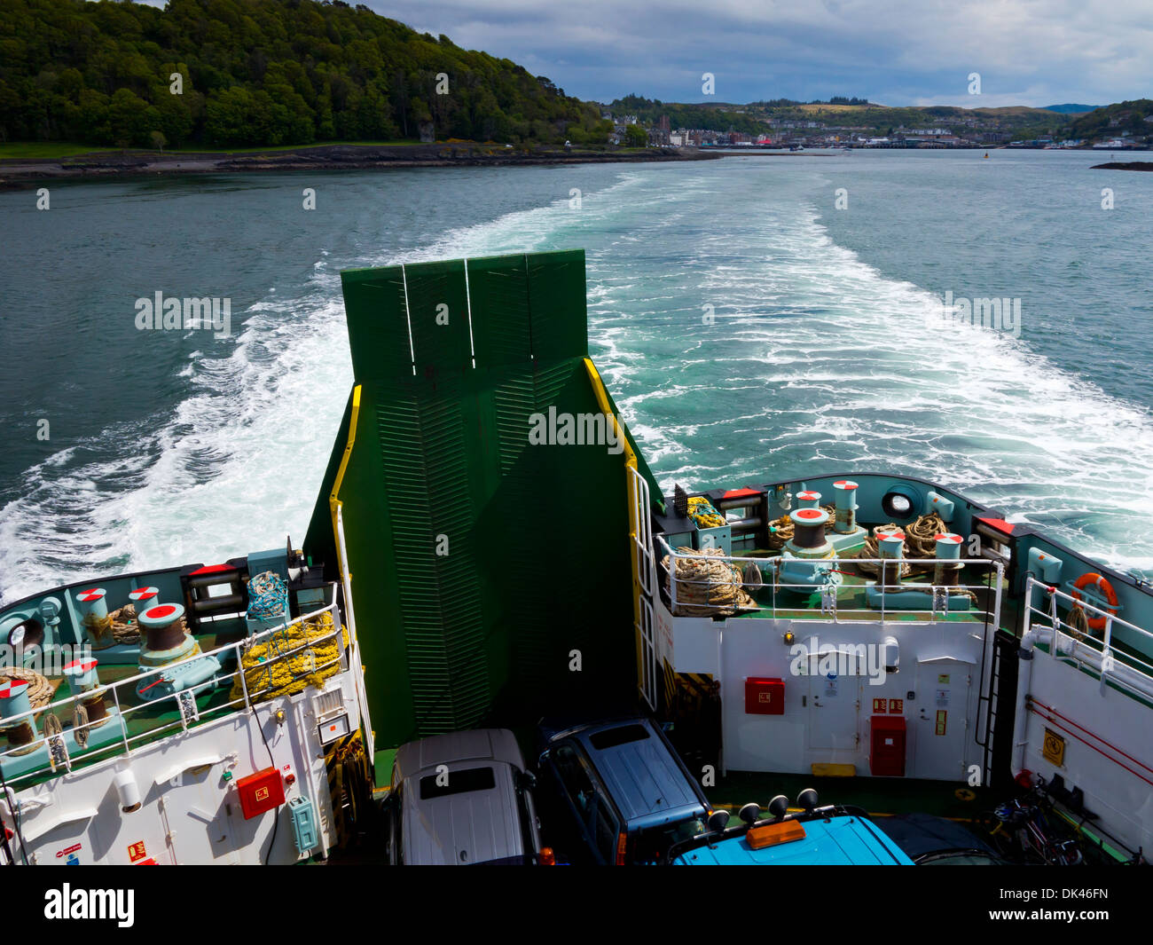 View from Caledonian MacBrayne car ferry leaving Oban in Argyll and Bute Scotland UK heading for Coll and Tiree Stock Photo