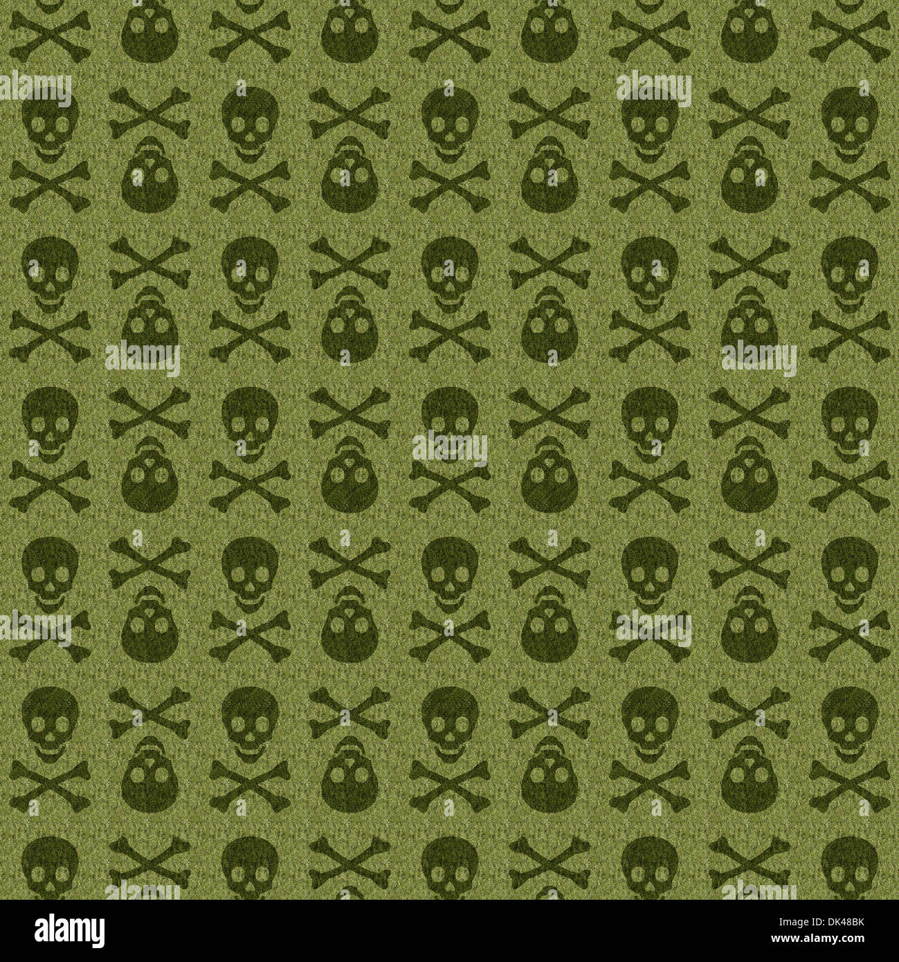 The graphical design in green skull texture - Stock Image