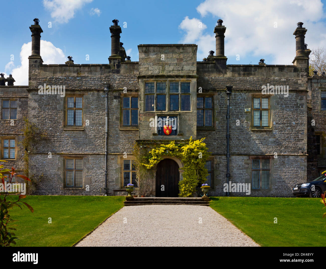 The exterior of Tissington Hall an early 17th-century Jacobean mansion house in Tissington village near Ashbourne Stock Photo